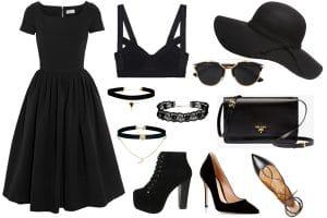 Total Black Outfit para un evento de moda